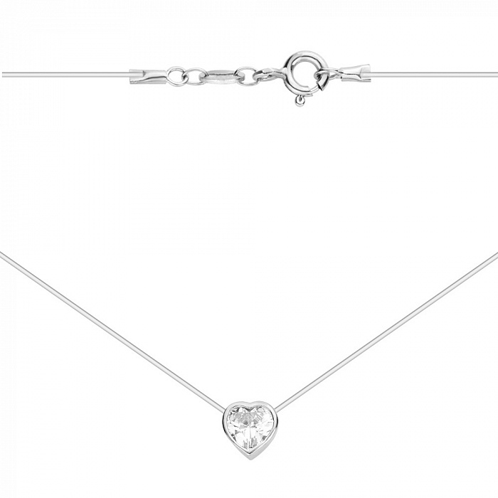 Серебряное колье на леске с цирконием в форме сердечка 000122941 000122941