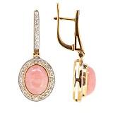 Золотые серьги с бриллиантами и розовым опалом Милена