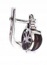 Серебряные серьги Круглая капля с дымчатым кварцем и фианитами