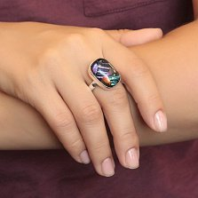 Серебряное кольцо Иллюзия с имитацией опала
