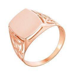 Золотой перстень-печатка Респект в красном цвете с ажурным орнаментом