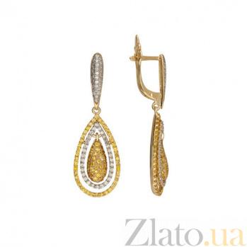 Серьги из желтого золота с цирконием Зарина VLT--ТТ258-1