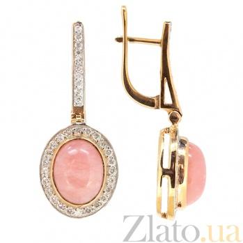 Золотые серьги с бриллиантами и розовым опалом Милена 000021830