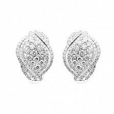 Серьги из белого золота Карелия с бриллиантами
