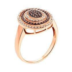 Золотое кольцо в красном цвете с белыми и коньячными фианитами 000117159