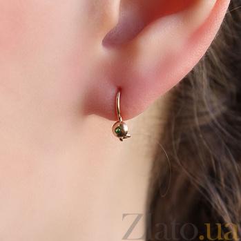 Детские золотые серьги с зеленым цирконием Лучик EDM--С0335з