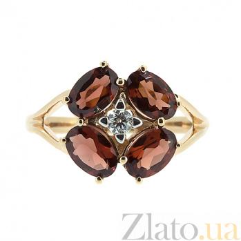 Золотое кольцо в красном цвете с гранатами и бриллиантом Витэлия ZMX--RGn-6644_K