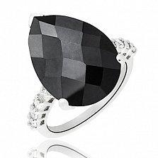 Серебряное кольцо Тренд с черным и белыми фианитами
