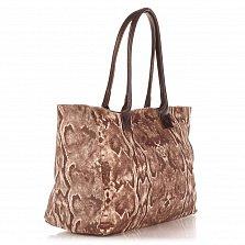 Кожаная сумка на каждый день Genuine Leather 8005 коричневого цвета на молнии и магнитной кнопке