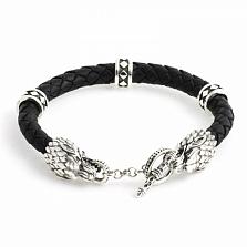 Кожаный браслет Wolf с черненой серебряной застежкой