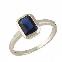Серебряное кольцо Дорис с синтезированным сапфиром