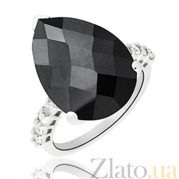 Серебряное кольцо Тренд с черным и белыми фианитами 10000132