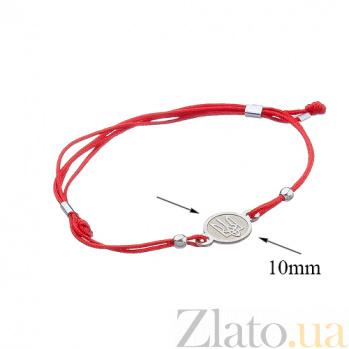 Шелковый браслет с серебряной вставкой Тризуб Тризуб