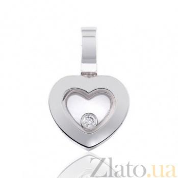Золотой кулон Любовный трепет с бриллиантом EDM--П7338/1