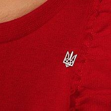 Серебряный значок Трезубец с родированной поверхностью и белыми фианитами