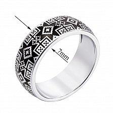 Серебряное кольцо Краля с орнаментом в стиле вышивки и черной эмалью