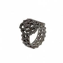 Золотое кольцо с чёрными с бриллиантами Aurora