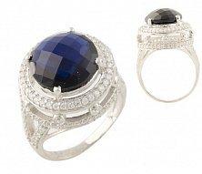 Серебряное кольцо Лорентайн с синтезированным сапфиром и фианитами