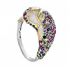Серебряное кольцо Дельфин с гранатами, турмалинами и хризолитами