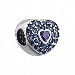 Серебряный шарм с фиолетовым и голубыми фианитами 000132537