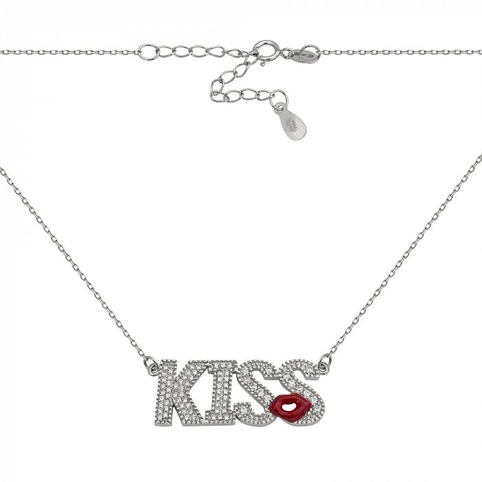 Серебряное колье с цирконием Kiss 000028464