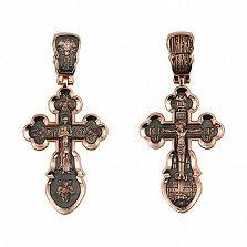 Золотой крестик с черным родием Воскресный