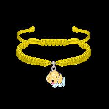 Детский плетеный браслет Собачка с эмалью и фианитом,13-12 см