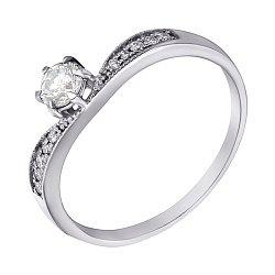 Золотое кольцо в белом цвете с бриллиантами 000070560
