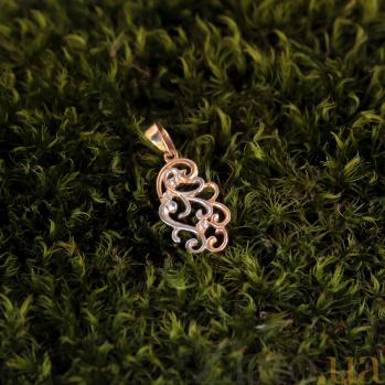 Золотая подвеска Нежность в комбинированном цвете с фианитами 000080022