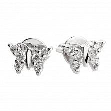 Серьги-пуссеты из белого золота Легкие бабочки с бриллиантами