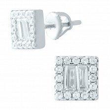 Серебряные серьги-пуссеты Сияющие квадраты с белыми фианитами