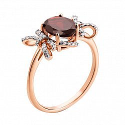 Золотое кольцо Мадемуазель с бантиками в комбинированном цвете с гранатом и фианитами
