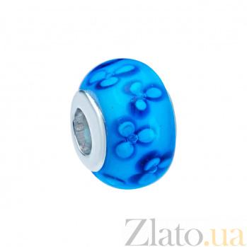 Серебряная бусина с муранским стеклом Васильки 000027131