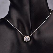 Серебряное колье Вихрь с кристаллами циркония