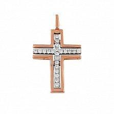 Крестик из красного золота Гармония с бриллиантами