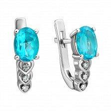Серебряные серьги Гелена с голубым кварцем и белыми фианитами