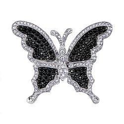 Серебряная брошь с черными и белыми фианитами 000137740