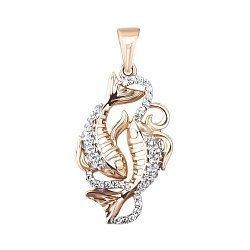 Золотая подвеска Рыбы в комбинированном цвете с фианитами 000134031