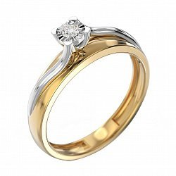 Золотое кольцо Ингрид с бриллиантом 000011037
