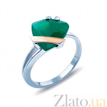 Серебряное кольцо с золотом и фианитом Триллиант AQA--206Кл_Из