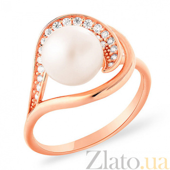 Золотое кольцо с жемчужиной и фианитами Карибы SUF--152908