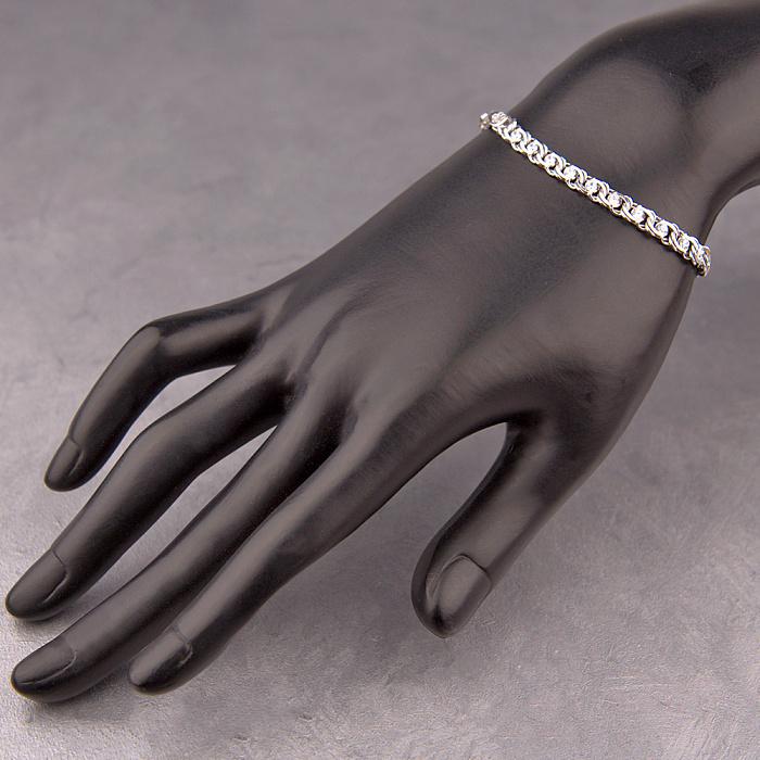 Серебряный браслет Фигаро в плетении бисмарк с фианитами, 4,5мм 000118141