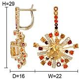 Золотые серьги с цитринами, топазами и бриллиантами Эстрелла