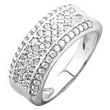 Серебряное кольцо Россыпь с белыми фианитами