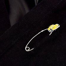 Серебряная булавка Машинка с желтой эмалью