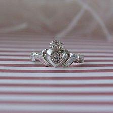 Серебряное кольцо Кладдахское с белым фианитом