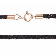 Хлопковый плетеный шнурок 4мм Прованс с серебряной позолоченной застежкой, размер 50