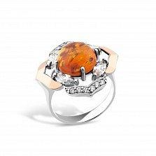 Серебряное кольцо Арлетта с золотыми накладками, янтарем и фианитами