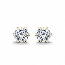 Серьги-пуссеты в желтом золоте Sweet Love с бриллиантами, 0,25ct