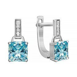 Серебряные серьги с голубыми и белыми фианитами 000029106